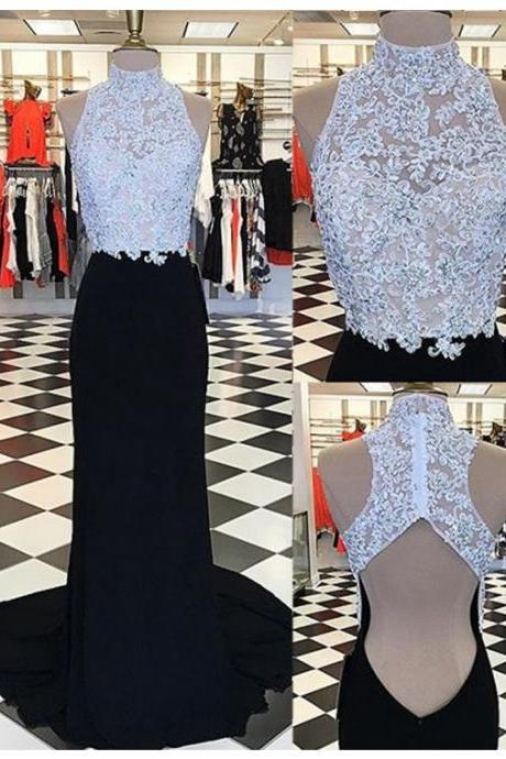 Glamorous High Neck Open Back Sweep Train Black Sheath Prom Dress with Appliques Beading