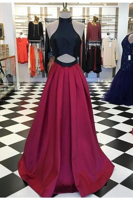 Sexy Halter Sleeveless Floor-Length Burgundy A-Line Prom Dress with Pleats