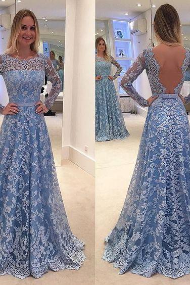 Charming lace prom dress,long sleeves prom dress,sexy open back evening dress