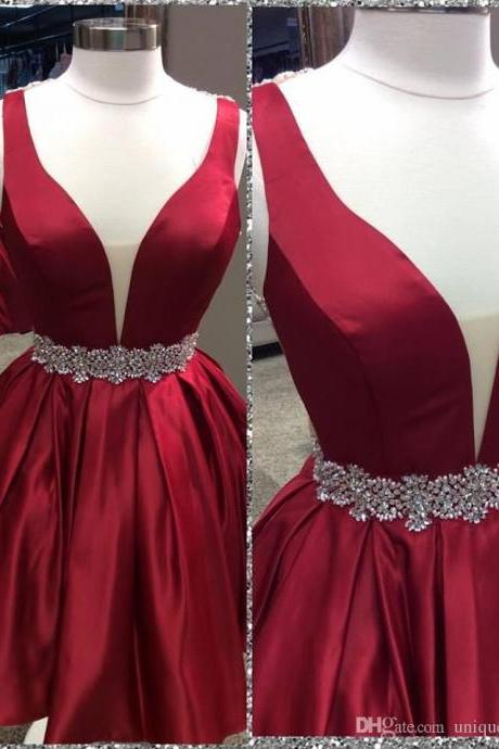 Homecoming Dress,Sexy Elegant Homecoming Dresses, Cute A-line Dark Red Homecoming Dress with Open Back,High Quality Graduation Dresses,Wedding Guest Prom Gowns, Formal Occasion Dresses,Formal Dress