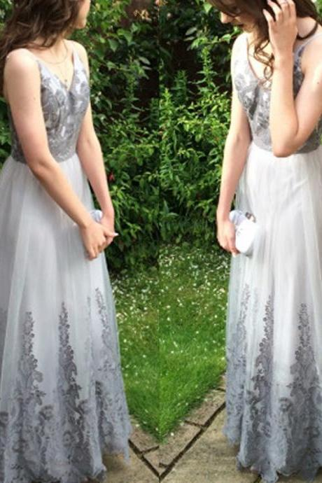 Hot Selling Silver Prom Dress - V Neck Long Sleeveless with Grey Lace