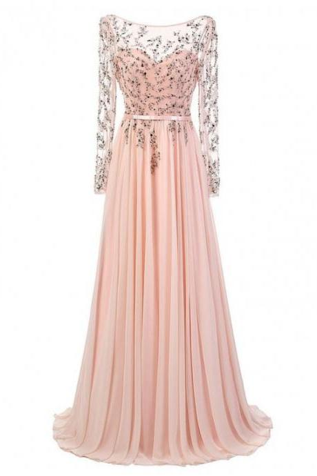 Elegant A-Line Crew Long Sheer Sleeves Backless Pink Prom Dress with Sequins Beading