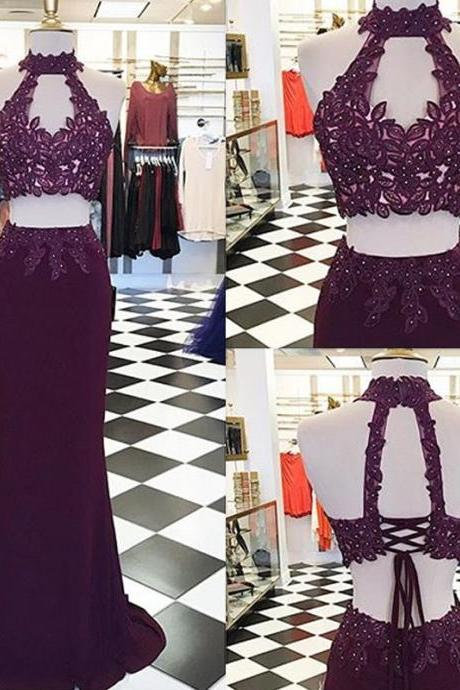 Decent Two Piece Burgundy Mermaid Prom Dress - High Neck Keyhole Open Back Lace-up Appliques Beading