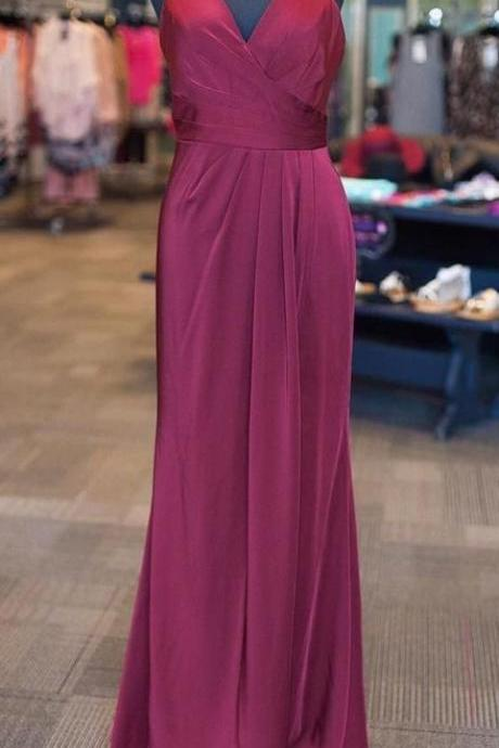 Stylish V-neck Floor-Length Open Back Lilac Prom/Evening Dresses Ruched