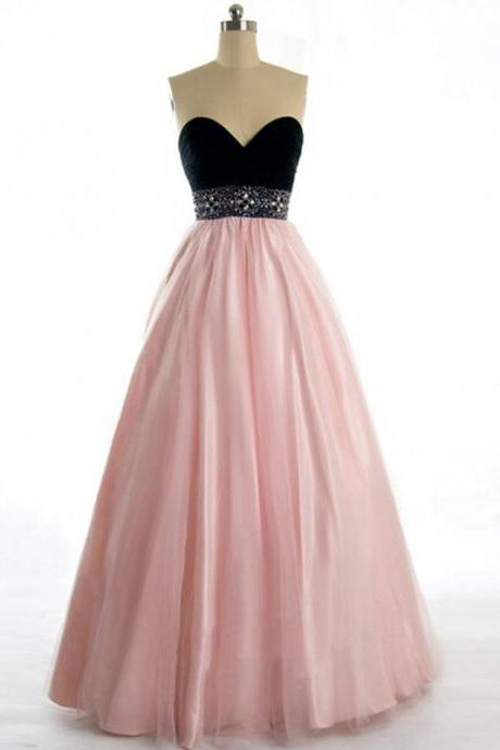 Hot Sell Floor Length Prom Dress for Pageant - Black and Pear Pink Sweetheart Tulle with Beaded