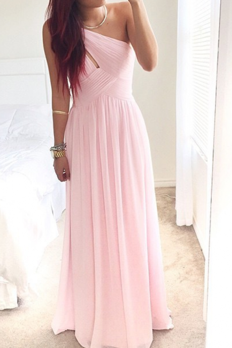 Luxurious A-Line Floor Length Chiffon One Shoulder Pink Bridesmaid/Prom Dress With Ruched