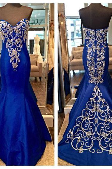 Sweetheart Mermaid Robe Dubai Arabe Kaftan Embroidery Beaded Indian Prom Dress 2017 New Royal Blue Satin Mermaid Evening Dresses