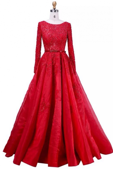 Elegant Women Formal Dress Robe De Soiree A-Line Beaded Lace Long Sleeve Evening Dresses Red Evening Dress