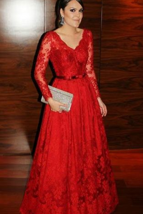 Red Formal Dress,Charming Prom Dress,Lace Prom Dress,A-Line Prom Dress,Long-Sleeves Prom Dress,V-Neck Prom Dress,Wedding Guest Prom Gowns, Formal Occasion Dresses,Formal Dress