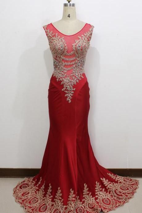 Red Prom Dress,Real Image/Picture Mermaid Prom Dresses Red Sheer Neck Appliques Hollow Back Long Formal Evening Party Gowns,Wedding Guest Prom Gowns, Formal Occasion Dresses,Formal Dress