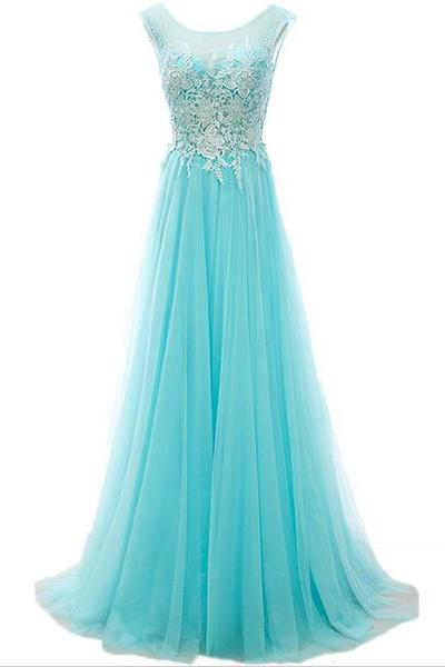 Sleeveless A-line Long Prom Dress with Lace Appliqués