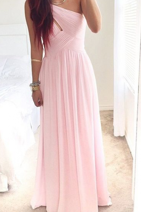 Sexy Prom Dress, Pretty Pink One-Shoulder Simple Prom Dress , Prom Dresses, Simple Prom Dresses , Prom Gown, Evening Dressess, Party Dress,Wedding Guest Prom Gowns, Formal Occasion Dresses,Formal Dress