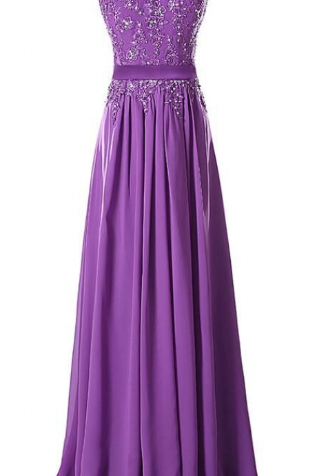 Aubergine Evening Dress , Aubergine Prom Dress, A line Appliques Chiffon Long Dress ,Girls Dress ,Women Dress ,Long Dresses , 2017 Evening Dresses ,Prom Dressses