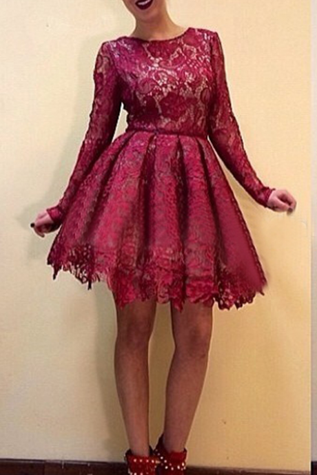 lace prom dress, burgundy prom Dresses, junior prom dress, cheap prom dress, lace short homecoming dress, party prom dress for girls