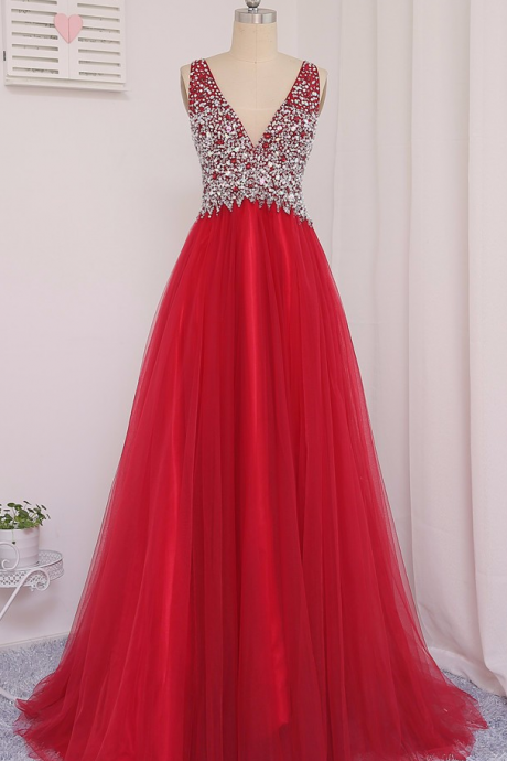 Soft Tulle New Actual Photo 2017 Red A-Line V-Neck Floor-Length Beaded Crystal Prom Dresses Vestido De Festa Evening Gowns