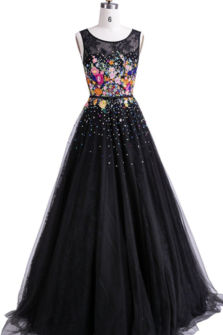 Princess Embroidery Floor-length A-line Black Evening Party Dresses