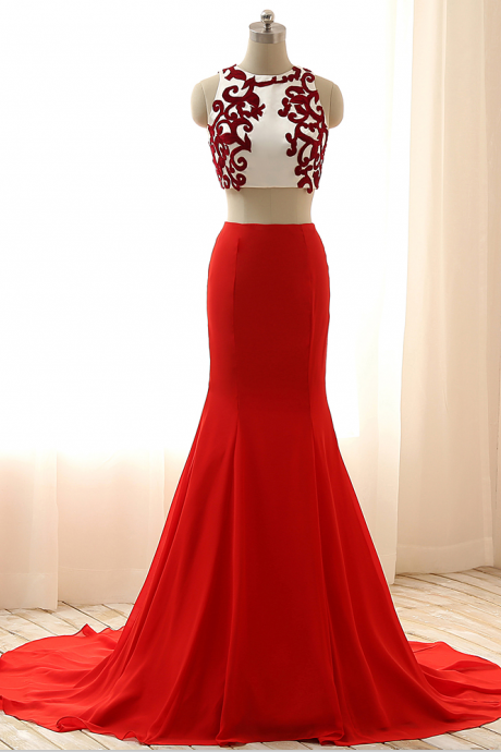 2017 Long Red Dresses,Sexy Two Pieces Red Dresses,Mermaid Prom Dresses,Appliqued Formal Dresses