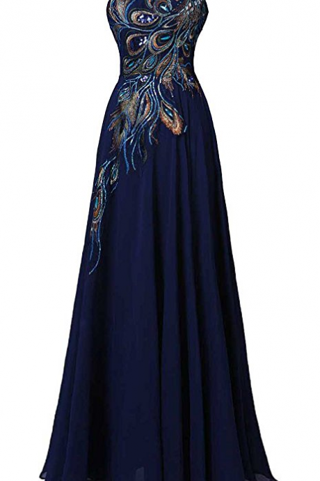 Women's A-line Prom Dress Embroidery Evening Gown