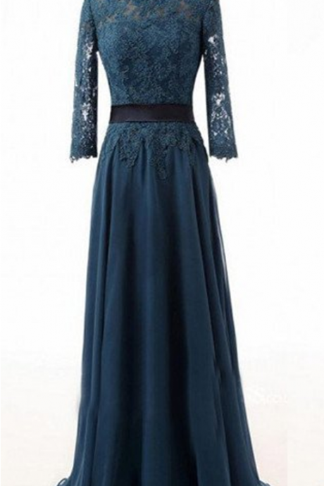 Dark teal Prom Dress,Lace prom dress,Modest prom dress,Long prom dress,Bridesmaid dress