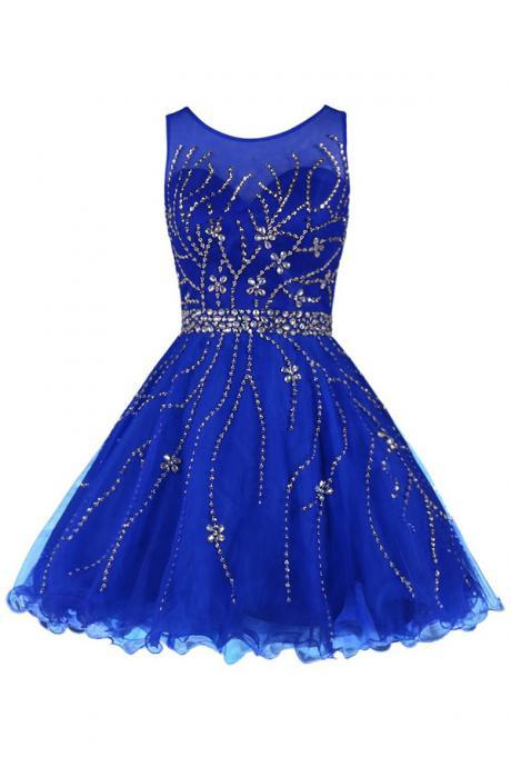 Mini Short Prom Dress Party Dress Classical Scoop A-line Knee Length Tulle Royal Blue Homecoming Dress With Beading