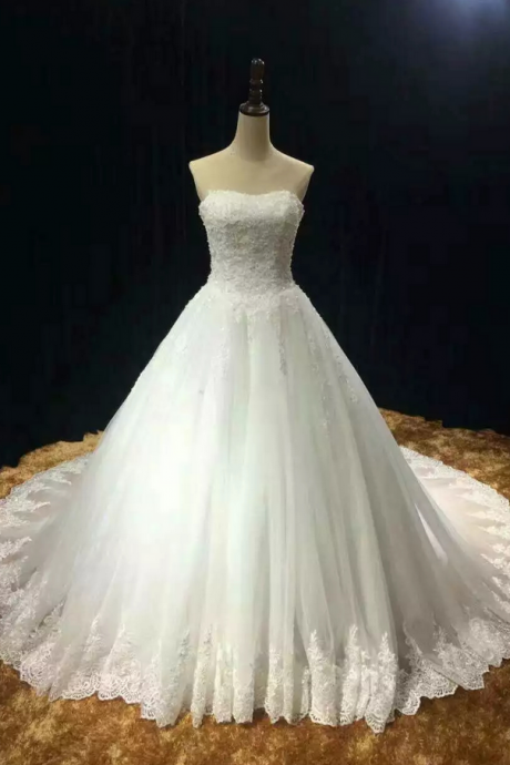 Chapel train soft tulle lace appliques strapless wedding dress real photo vestido noiva prince with pearls free custom-made