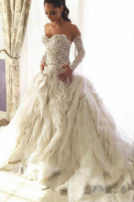 Saudi Arabia Luxury Wedding Dress 2017 Elegant Puffy Ruffles Mermaid Wedding Dress Long Sleeve Wedding Gown Vestido De Noiva
