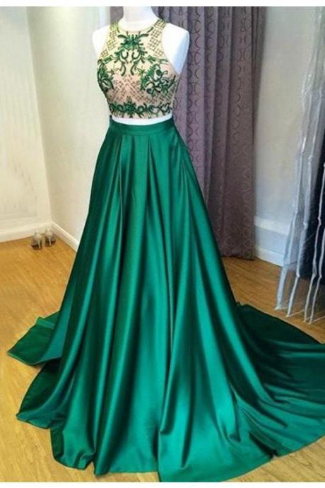A-line Green Jewel Sweep Train Prom Dress with Embroidery