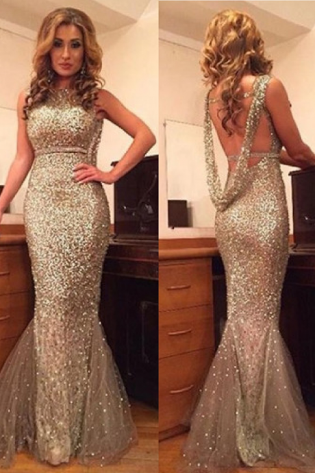 Sexy Scoop Sequines Gold Mermaid Backless Prom Dress