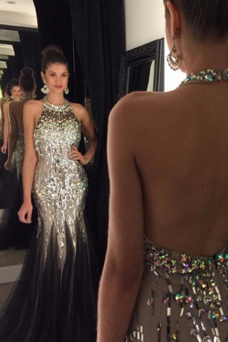 Luxurious Long Prom Party Dress - Mermaid O-Neck Backless with Rhinestone