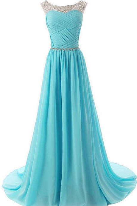 Elegant Chiffon & Tulle Bateau Neckline A-line Prom Dresses with Beadings & Rhinestones