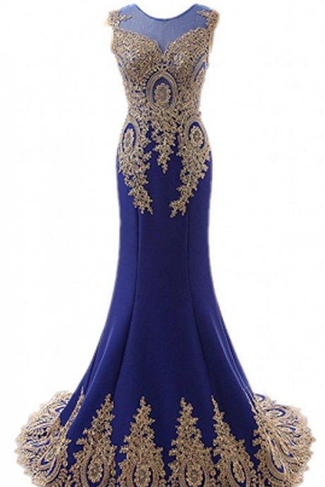 Long Gold Appliqued royal blue mermaid Evening Dress for Women Party Formal Prom Dress