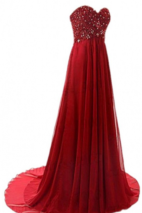 Long Sweetheart Prom Ball Gown Beading A-line Formal Evening Dress