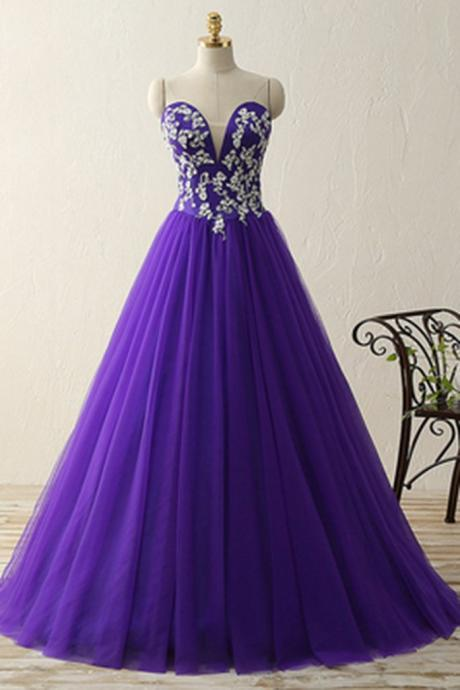 sweetheart applique A-line princess long prom dress for teens, evening dresses