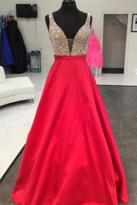 red satin long prom dresses sparkly beaded v neck evening gowns