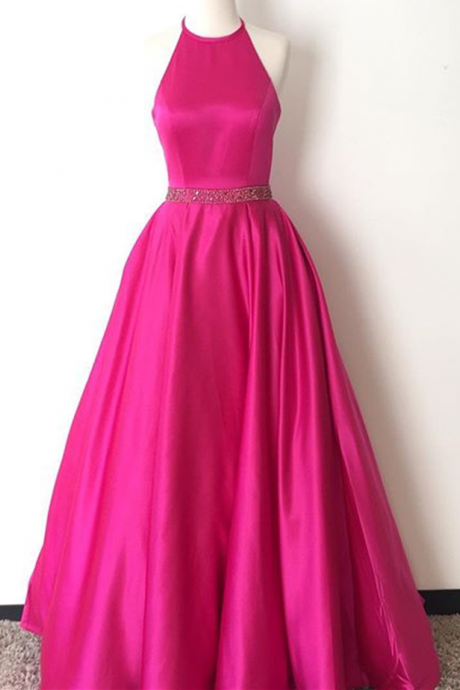 Custom Made Halter Neck SatinFloor-Length Long Party Dress, Prom Dresses with Jewel Beaded Waistline