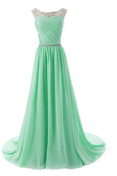 Chiffon Charming Prom Dresses, Floor-Length Evening Dresses, Prom Dresses, A-Line Real Made Prom Dresses On Sale