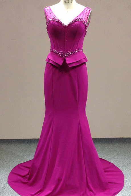 Hot Selling Real Photos Fushia Evening Dress Sexy Beaded Crystal Prom Dress Party Gown For Women vestido de festa