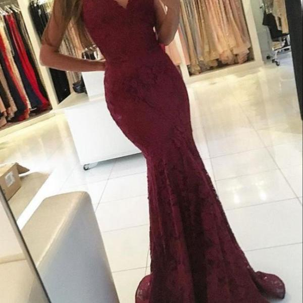 Mermaid Prom Dresses,Lace Prom Dresses,Burgundy Prom Dresses,V-neck Prom Dresses,Long Evening Dresses,Party Dresses