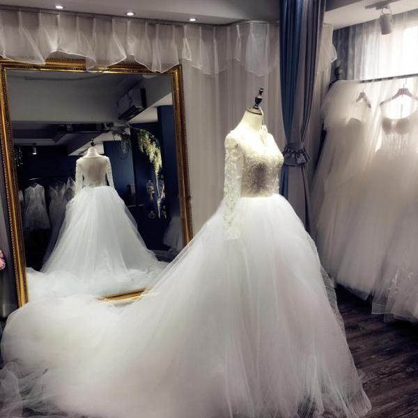 Sexy Wedding Dress,Wedding Dresses,Wedding Dress,Wedding Gown,Bridal Gown,Bride Dresses, Ball Gown Wedding Dress,Long Sleeves Bridal Dress,Pearls Wedding Gown,Luxury Bridal Dresses,Puffy Wedding Gown,See Through Wedding Dress,Tulle Bride Dresses,Crystal Wedding Gown