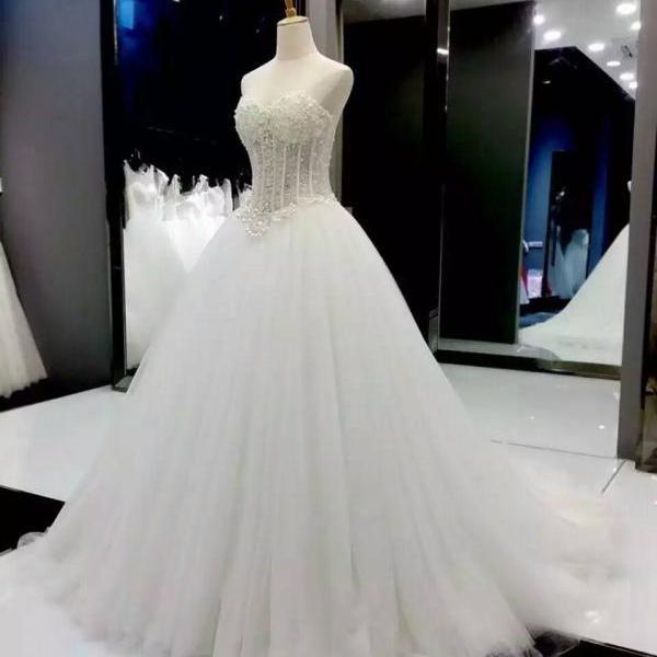Strapless Sweetheart Corset Beaded Ballgown Wedding Dress