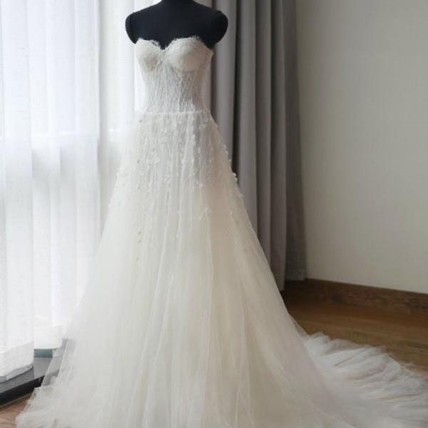 Floor Length Tulle Wedding Gown Featuring Crystal Flower Embellishments and Lace Strapless Sweetheart Bodice