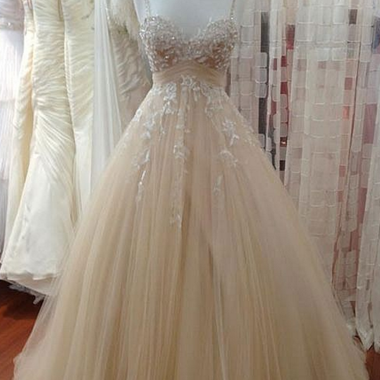 Spaghetti Straps Champagne Prom Dress with Beaded Lace