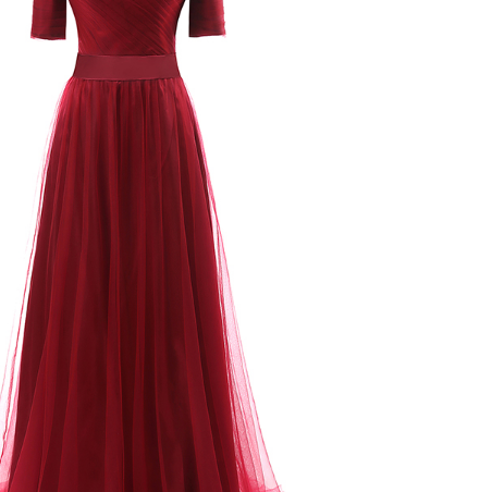 Tulle evening gown, short sleeves long formal evening dress