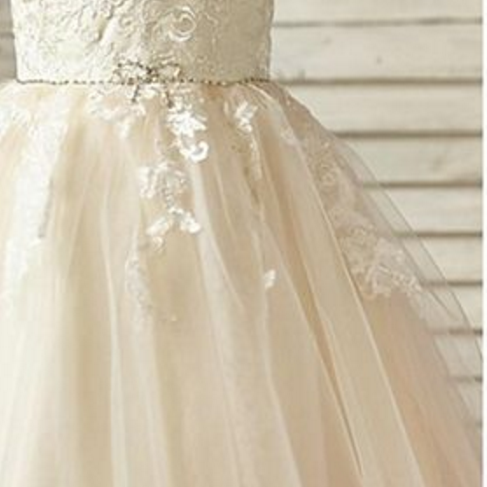 A-line Knee-length Flower Girl Dress - Lace / Tulle Sleeveless Scoop with Appliques / Beading