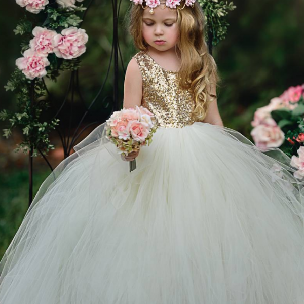 Sparkly Gold Sequins Ivory Long Flower Girl Dress