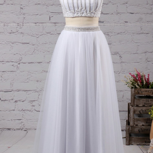 A-line High Neck Tulle Floor-length with Beading Prom Dresses evening dresses