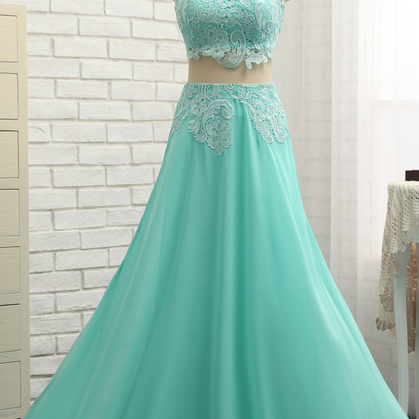 A-line High Collar Chiffon Lace Two Pieces Long Prom Gown Evening Dresses Evening Gown