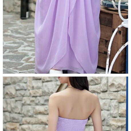 Light Purple Chiffon Charming Party Dress,Strapless Bridesmaid Dress Evening Dress,Prom Dress,Formal Dress