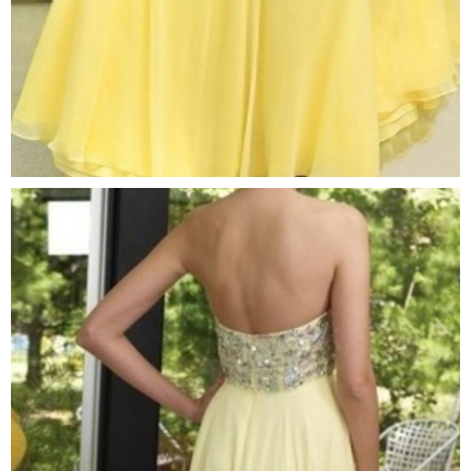 Sexy Crystal Chiffon Beaded Long Elegant Yellow Prom Dresses with Rhinestones Fast Shipping