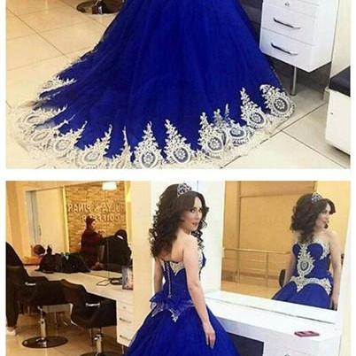 Royal Blue Ball Gown with Applique,Sweetheart Wedding Dress,Handmade Dress